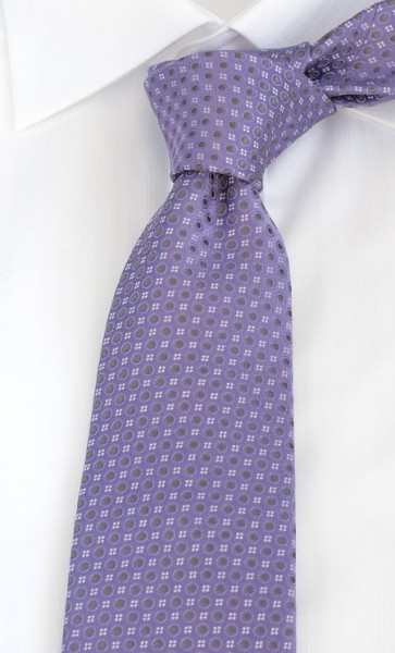 PELO Krawatte Reine Seide gemustert flieder grau