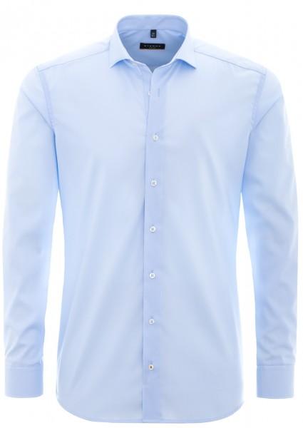 Eterna Slim Fit Uni Stretch Langarmhemd hellblau