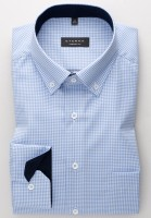 ETERNA Comfort Hemd KARO BUTTON DOWN hellblau