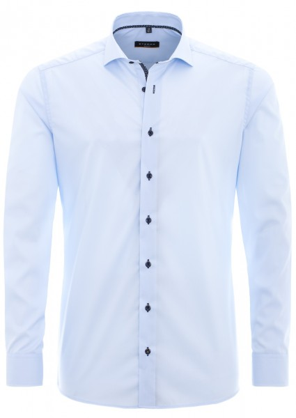 Eterna Slim Fit Uni Stretch Langarmhemd hellblau