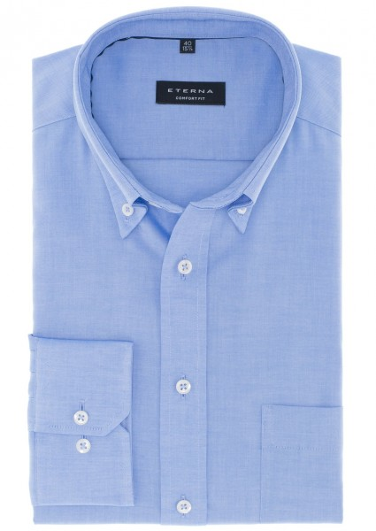 ETERNA Comfort Fit Button-Down-Kragen mittelblau
