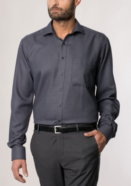 Eterna Hemd Comfort Fit 72 cm grau-schwarz strukturiert