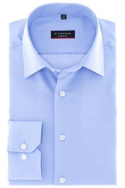 ETERNA Hemd Modern Fit 72 cm Super Lang blau mit Tupfen