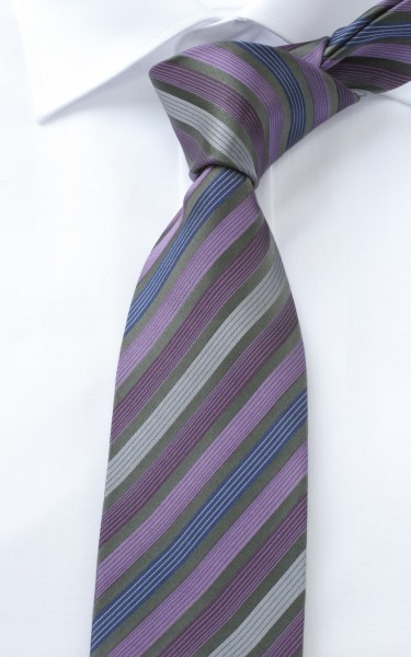 ETERNA Krawatte Extra Lang lila grau gestreift
