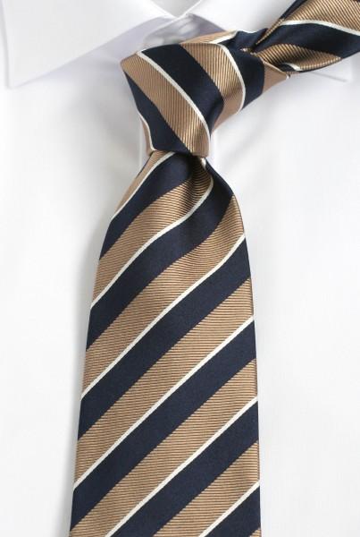 ALTEA Krawatte Reine Seide gestreift blau goldbraun