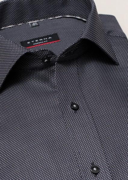 ETERNA Hemd Modern Fit 72 cm Struktur schwarz grau