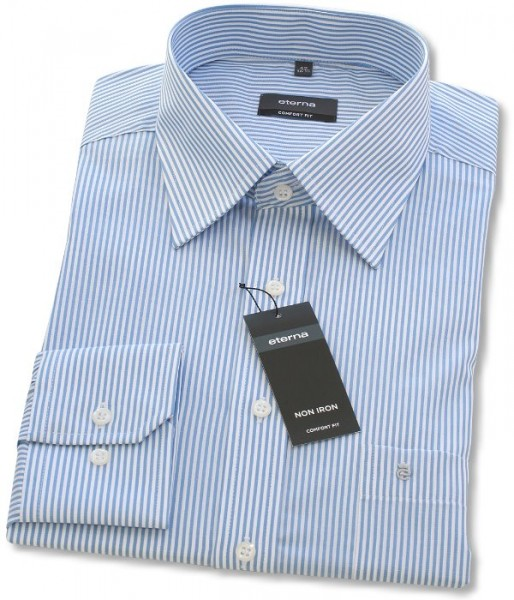Eterna Hemd Comfort Fit 72cm Super Lang blau gestreift