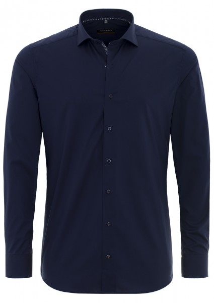 Eterna Slim Fit Uni Stretch Langarmhemd marine