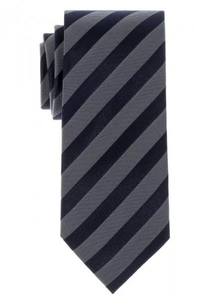 ETERNA Krawatte Reine Seide marine-grau gestreift