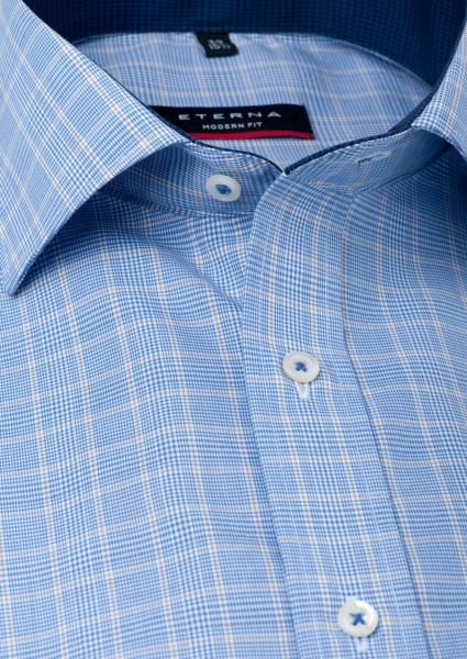 Eterna Hemd Modern Fit 72 cm Super lang Karo blau