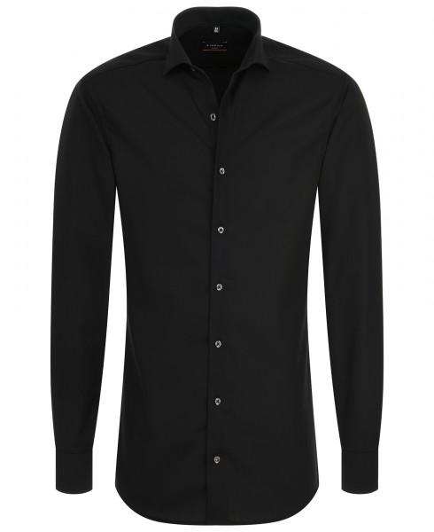 ETERNA Slim Fit Uni Stretch Langarm Hemd schwarz