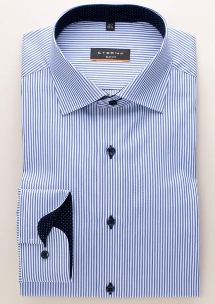 Eterna Hemd gestreift blau weiss Twill