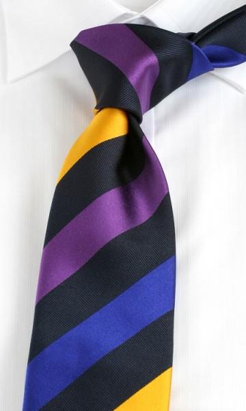 HEMLEY Krawatte Blockstreifen lila royal gelb