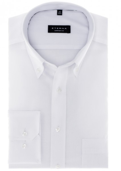 Eterna Comfort Fit Button-Down-Kragen weiß