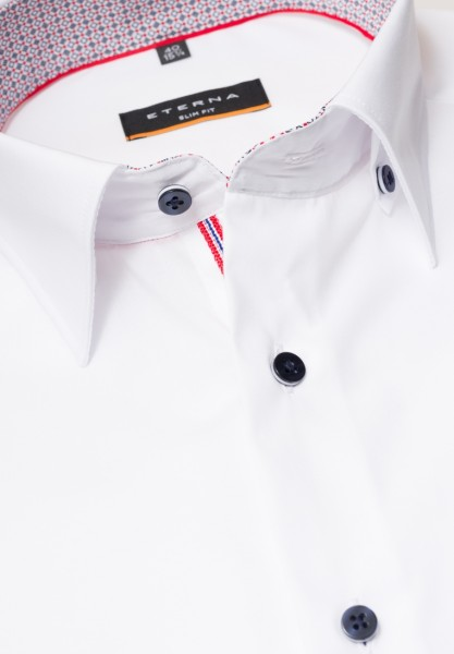 ETERNA Slim Hemd 72 cm Extra lang weiß mit rot