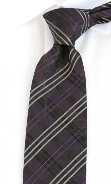 PELO Krawatte Reine Seide Streifen flieder grau