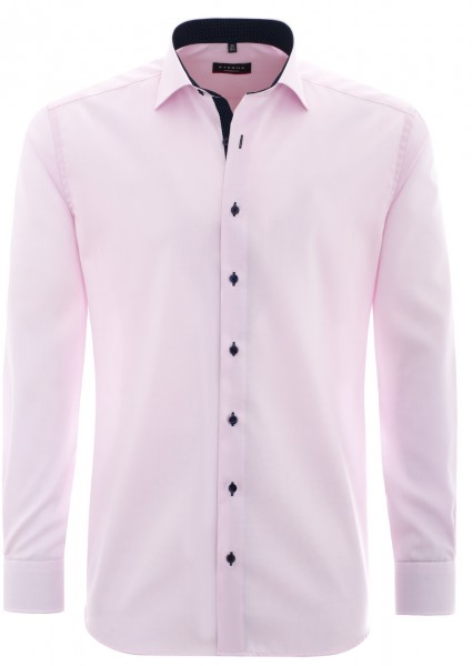 Eterna Modern Fit Langarmhemd mit Patch rosa