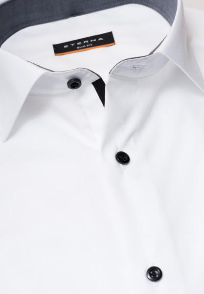 ETERNA Slim Hemd 72 cm Super Lang weiß mit schwarz