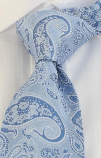 PELO Krawatte Paisley hellblau silber weiß