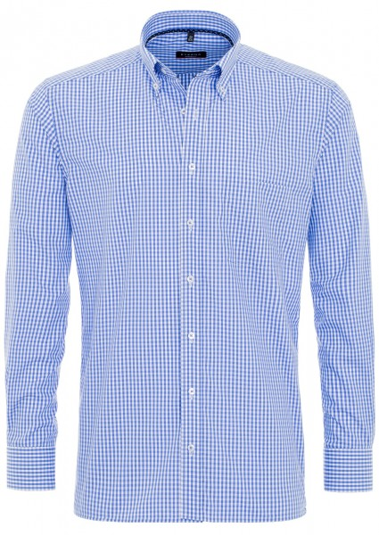 Eterna Modern Fit 72cm Button-Down weiß-blau