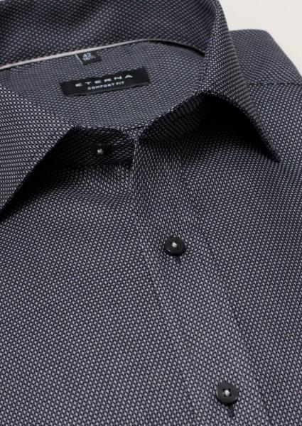 ETERNA Hemd Comfort Fit 72 cm STRUKTUR grau-schwarz