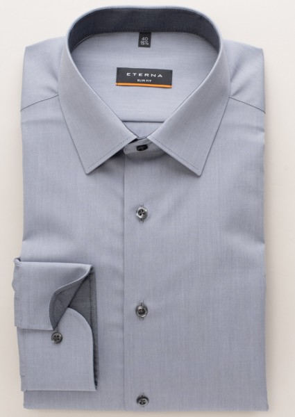 Eterna Slim Fit Langarmhemd Chambray grau